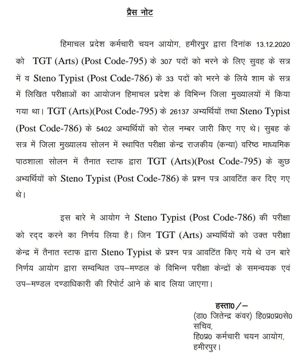 HPSSc Hamirpur steno typist